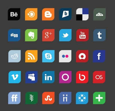 Leaf Flat Design Social Media Icon Set
