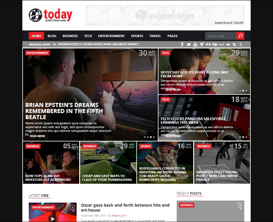 Today WordPress Theme