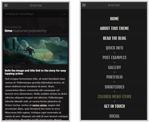 Spartan mobile wordpress theme