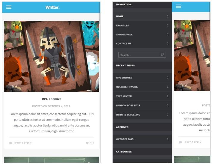 Writter mobile wordpress theme