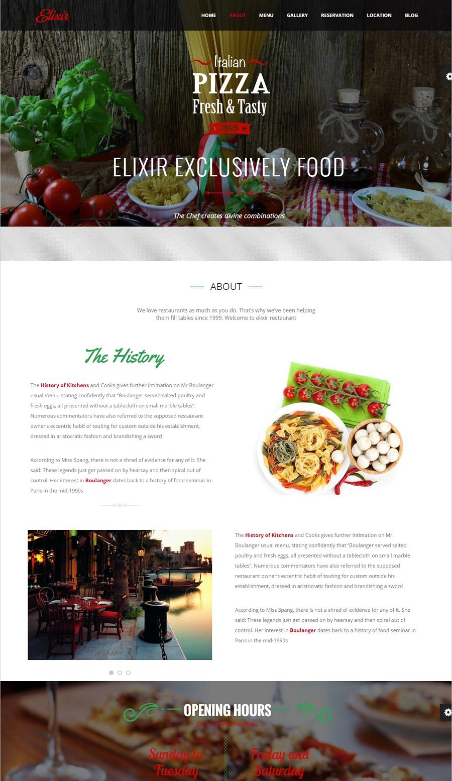 Elixir restaurant wordpress theme