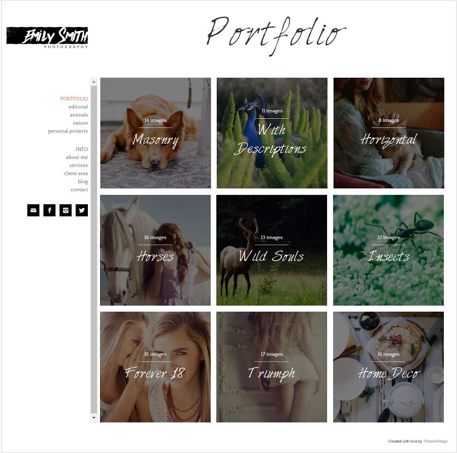Emily photography wordpress theme