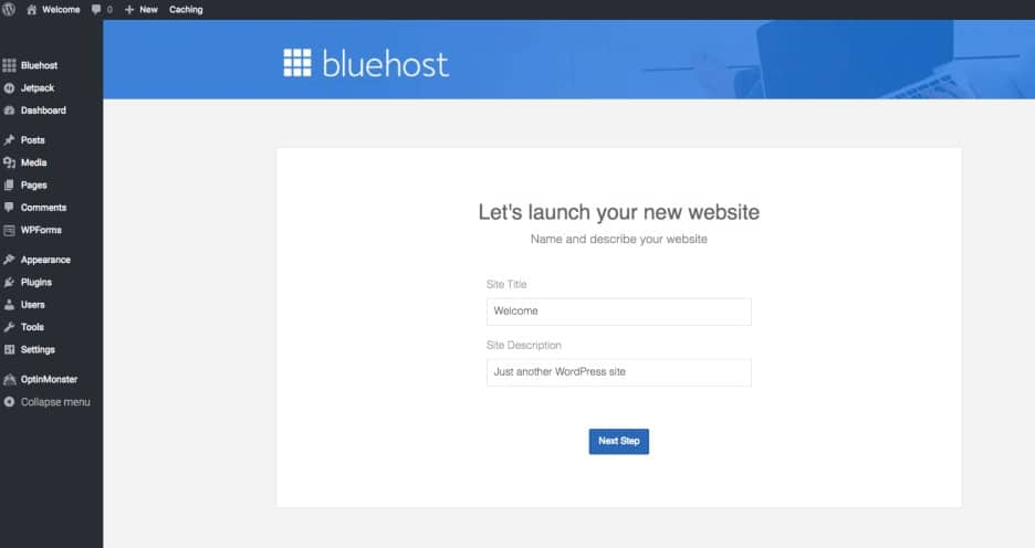 Bluehost blog title