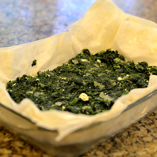 assembling Spinach, phyllo, tart