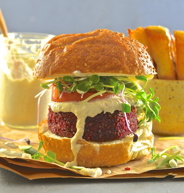 Beet Lentil & Quinoa Burger Virtual Vegan