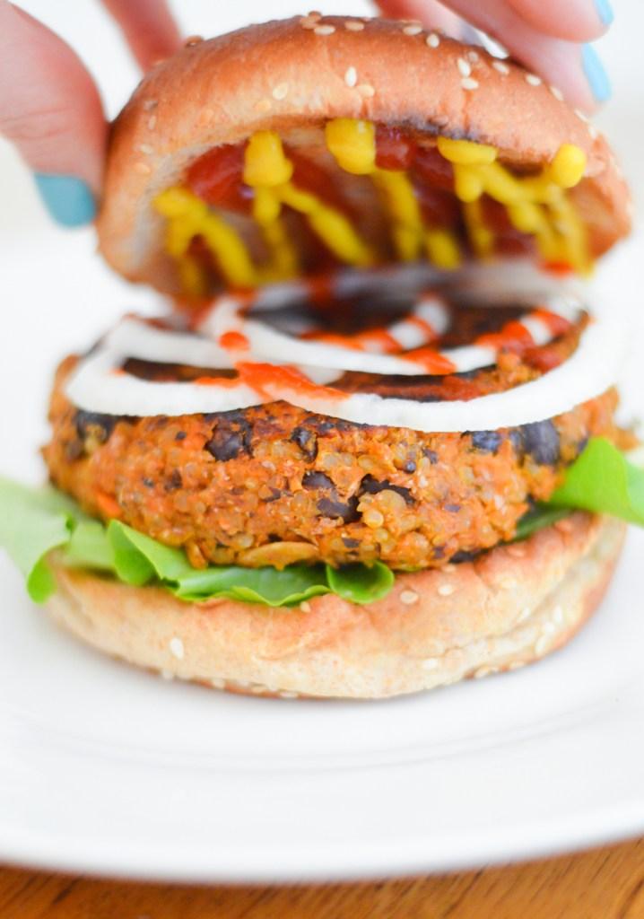 Sriracha Sweet Potato Veggie Burgers - Luci's Morsels