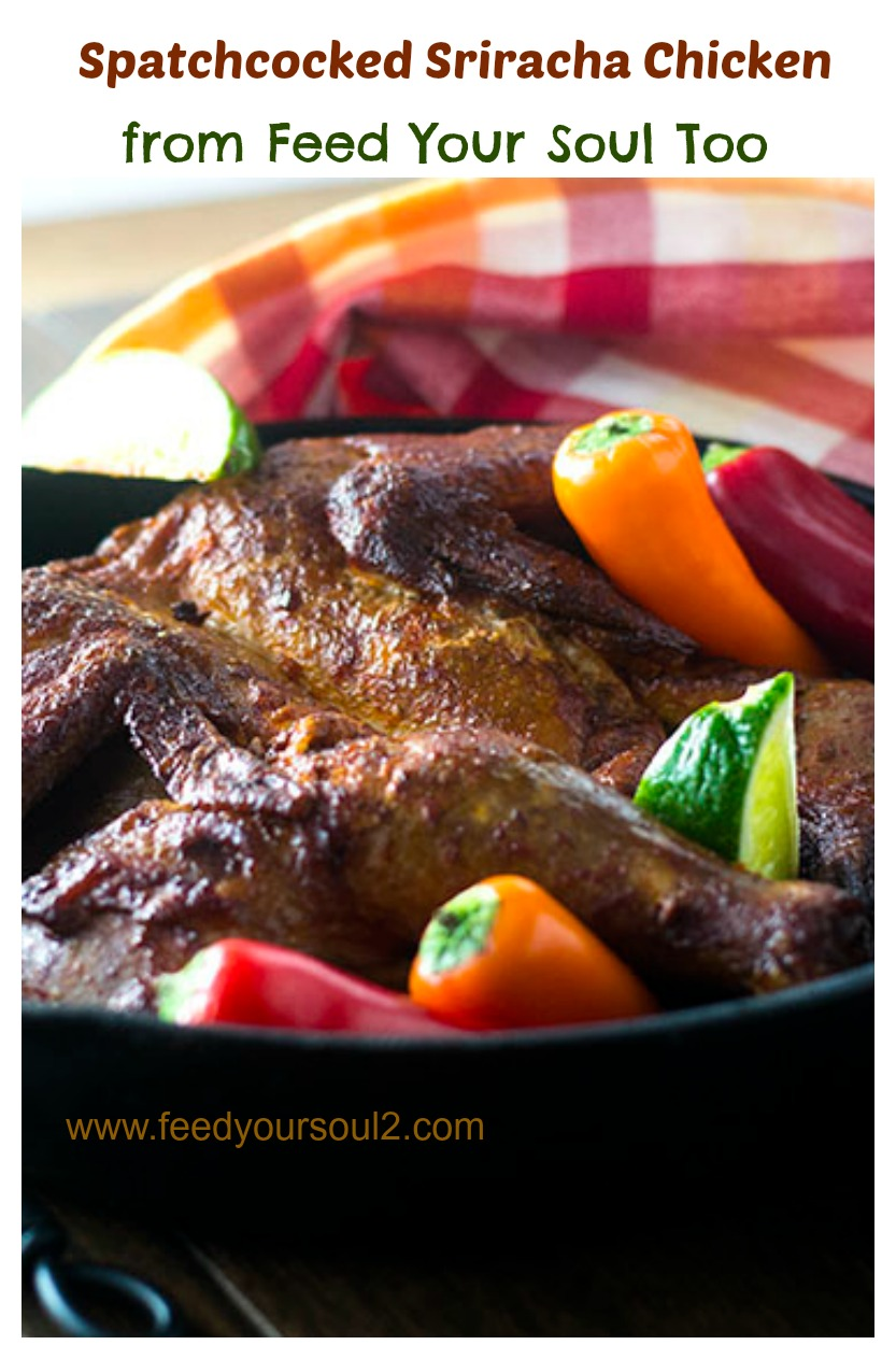 Spatchcocked Sriracha Chicken #chicken #spatchcocked #sriracha | feedyoursoul2.com