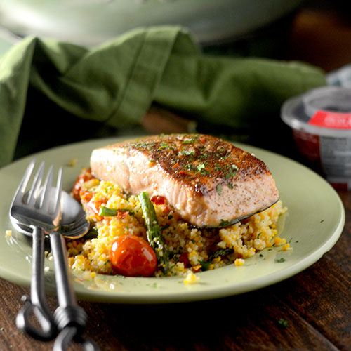 Za'atar Salmon with Cous Cous from Feed Your Soul Too