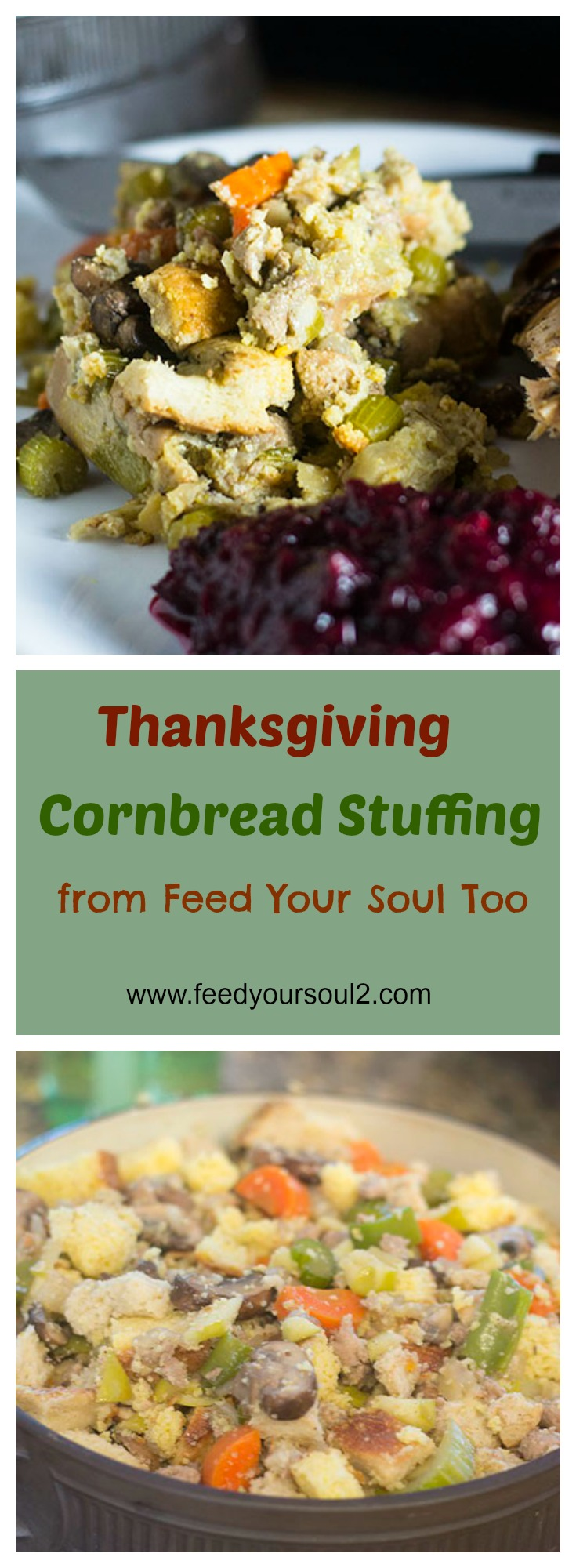 Thanksgiving Cornbread Stuffing #Thanksgiving #sidedish #sausage #apples | feedyoursoul2.com
