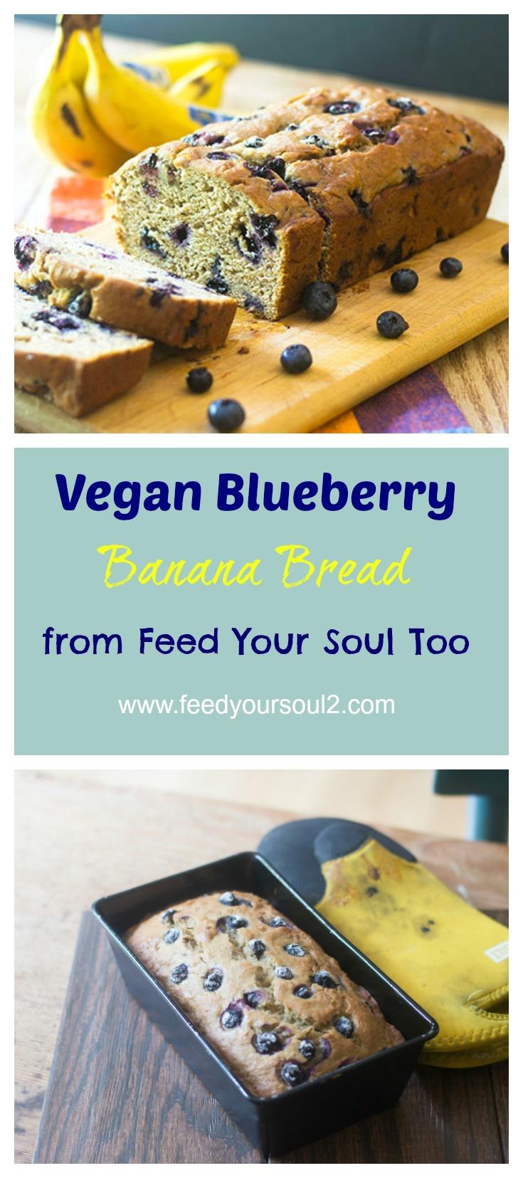 Vegan Blueberry Banana Bread #dessert #bananas #vegan | feedyoursoul2.com