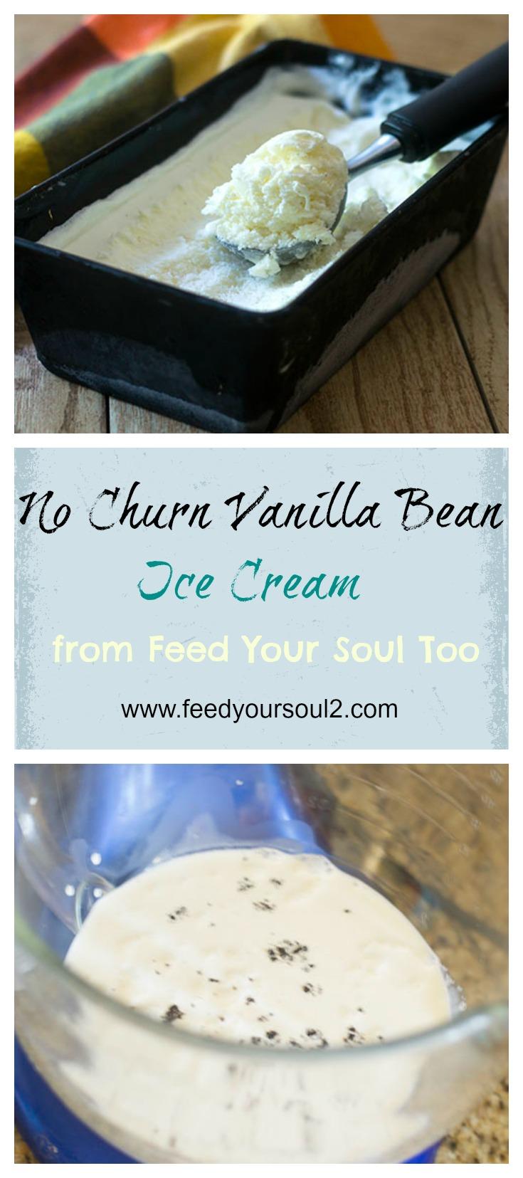 No Churn Vanilla Bean Ice Cream #Dessert #vanilla #icecream | feedyoursoul2.com