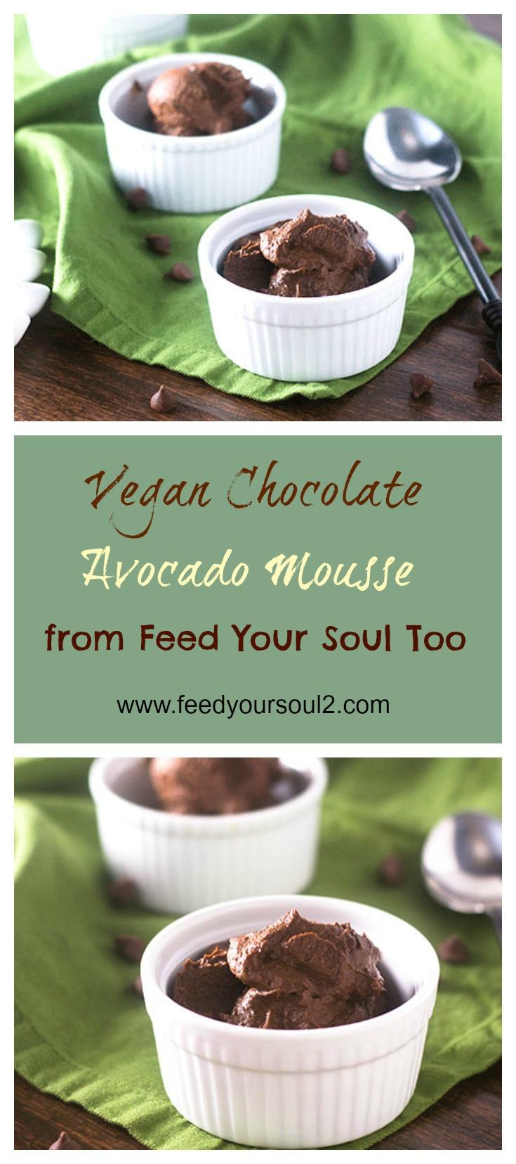 Vegan Chocolate Avocado Mousse #vegan #chocolate #dessert | feedyoursoul2.com