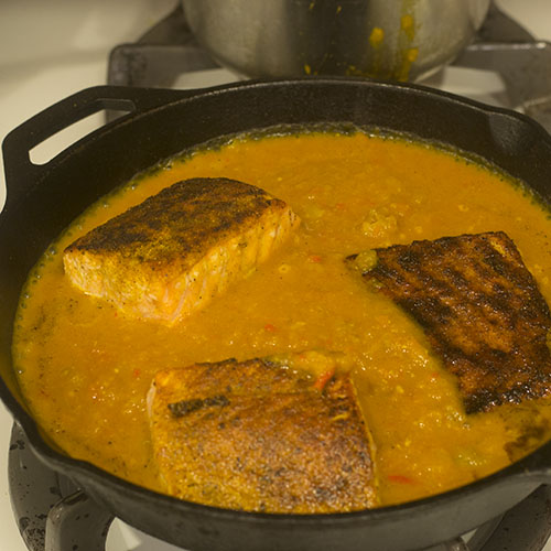 Poaching Salmon in Curry Sauce