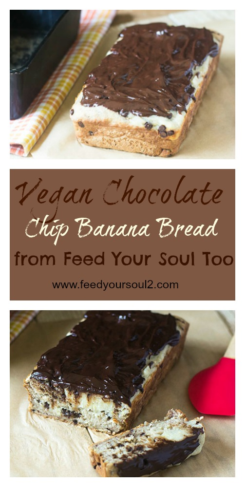 Vegan Chocolate Chip Banana Bread #dessert #vegan #chocolate #bananas | feedyoursoul2.com