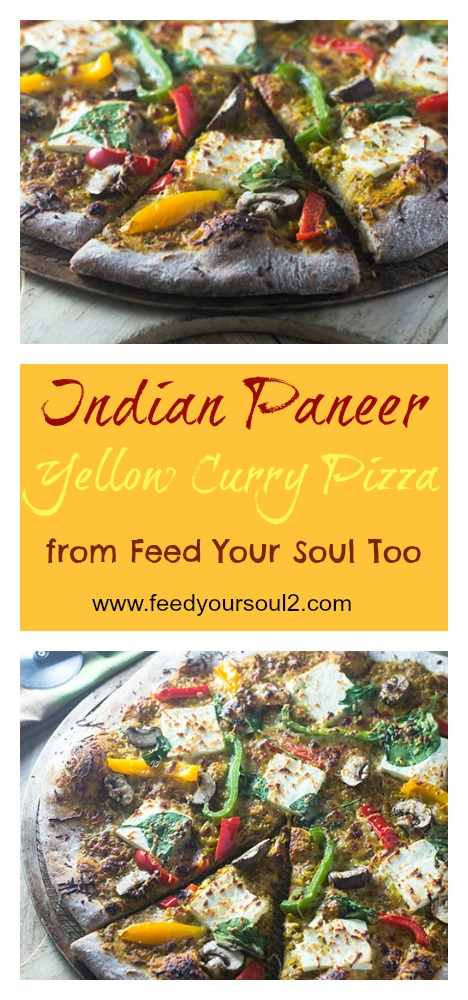 Indian Paneer Yellow Curry Pizza #dinner #vegetarian #fusion #curry | feedyoursoul2.com