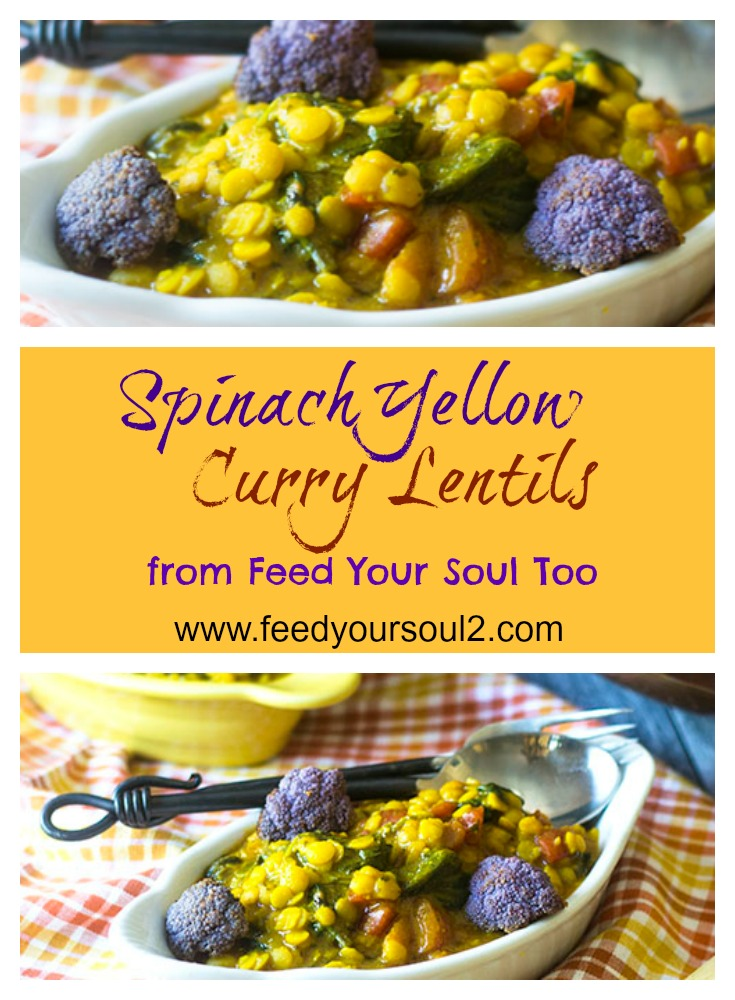 Spinach Yellow Curry Lentils #vegan #indianfood #curry #lentils | feedyoursoul2.com
