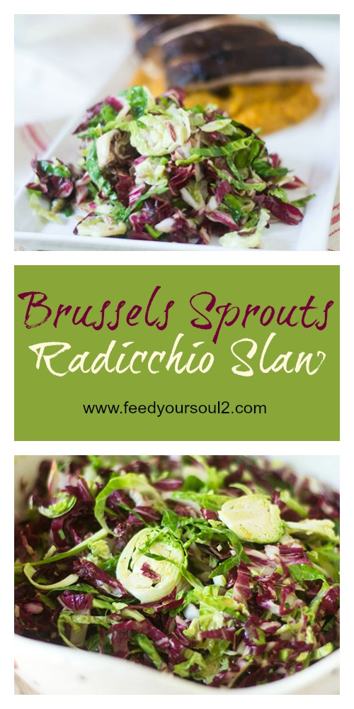 Brussels Sprouts Radicchio Slaw #salad #glutenfree #brusselssprouts #coleslaw   feedyoursoul2.com