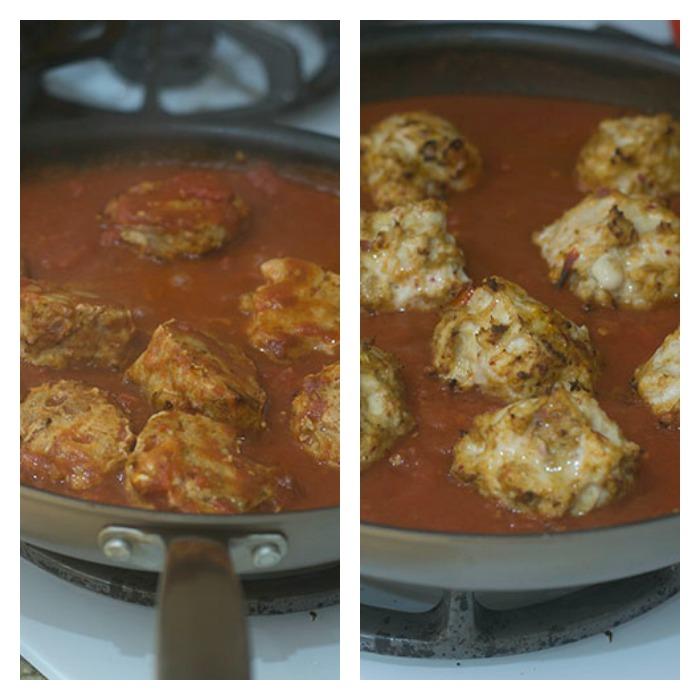 Meatballs Marinating in Tomato Sauce