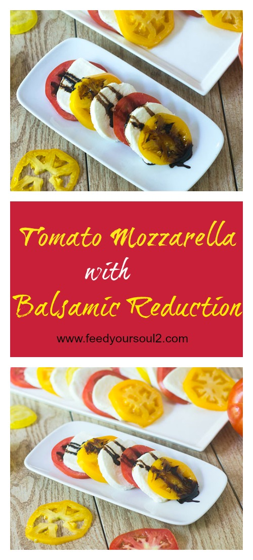 Tomato Mozzarella with Balsamic Reduction #glutenfree #appetizer #balsamic | feedyoursoul2.com