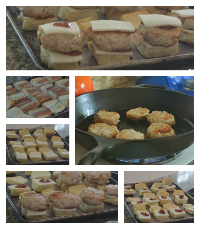 Assembling the Chicken Sausage Pepperoni Pizza Sliders