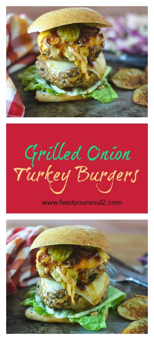 Grilled Onion Turkey Burger #burgers #onions #cheese #glutenfree   feedyoursoul2.com