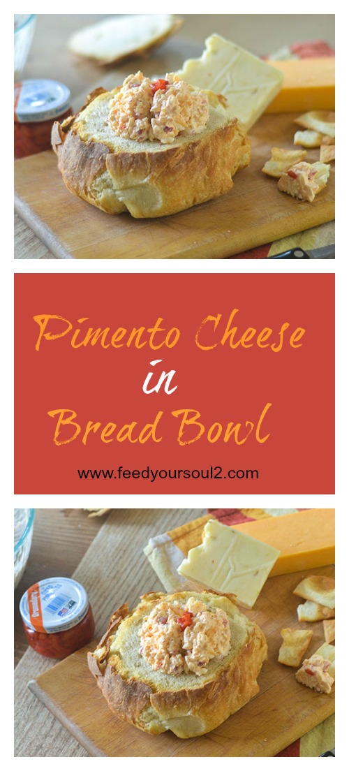 Pimento Cheese in Bread Bowl #cheese #Southernfood #appetizer | feedyoursoul2.com