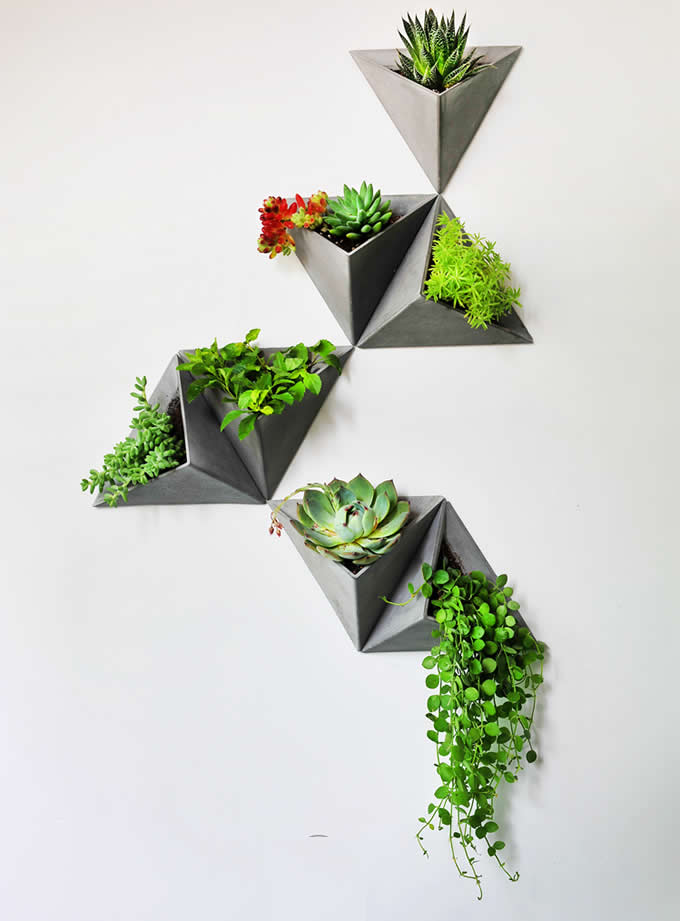 Concrete Triangle Wall Mounted Flower Pot Feelgift