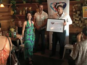 This is an image of Linda Pang being given the Cool to be Kind award by World Kindness Australia Chairman Michael Lloyd-White