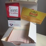 This is an image of FGF and KiC business cards donated by Officeworks DeeWhy