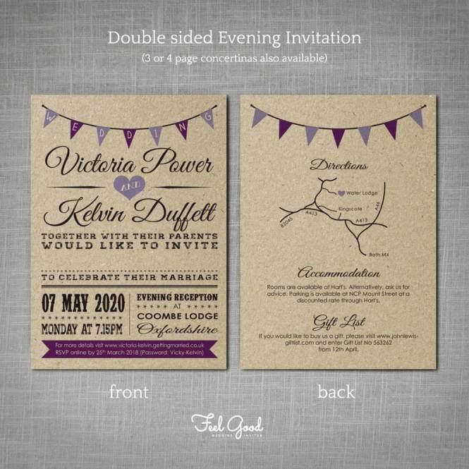 Vintage Bunting Kraft Concertina Wedding Invitation Feel
