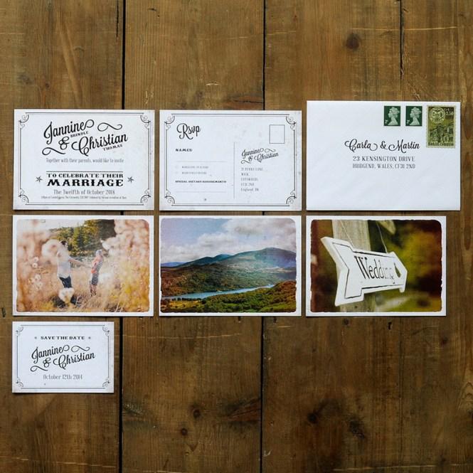 Vintage Photo Postcard Wedding Invitation Feel Good