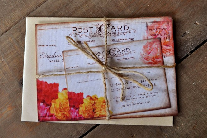 Shabby Chic Postcard Wedding Invitation Feel Good