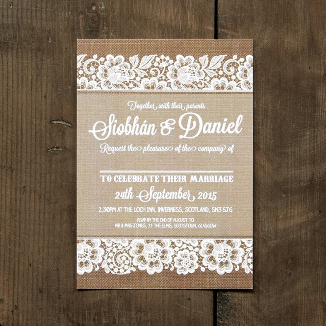 Shabby Chic Lace Wedding Invitation Feel Good