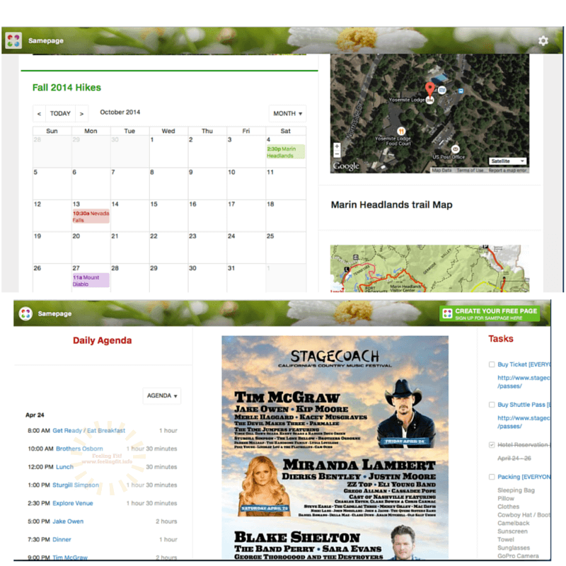 The Sampage app makes it easy to plan hikes, trips, races or days at festivals.