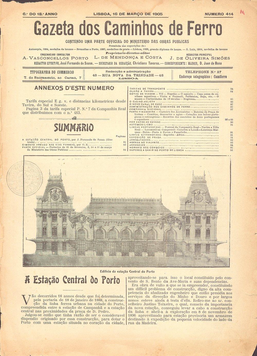 Página da Gazeta dos Caminhos de Ferro 1905 - Estacão de São Bento