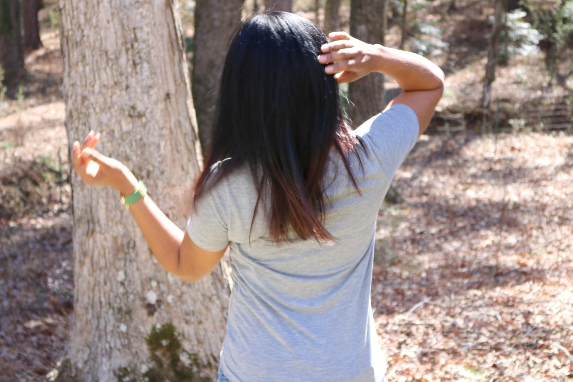 mid back or arm pit length ombre hair black to brown dark to light after detangling