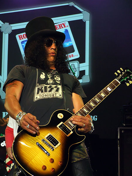Slash Wearing Band Shirts Kiss