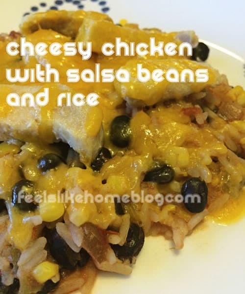 Quick and Easy Gluten-Free Cheesy Chicken with Salsa Beans and Rice