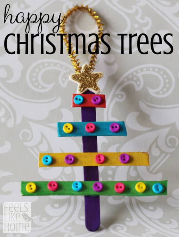 These Christmas trees are so easy to make! What do preschoolers like to do more than anything? Stickers and glitter glue! Perfect combo and practically mess-free!