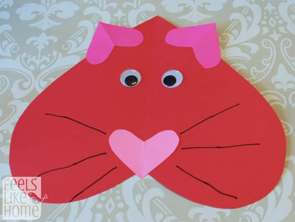 Valentine's Day heart-shaped animal crafts for kids cat