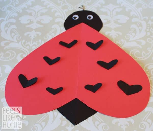 Valentine's Day heart-shaped animal crafts for kids ladybug