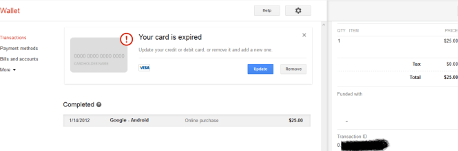 Google wallet transaction id