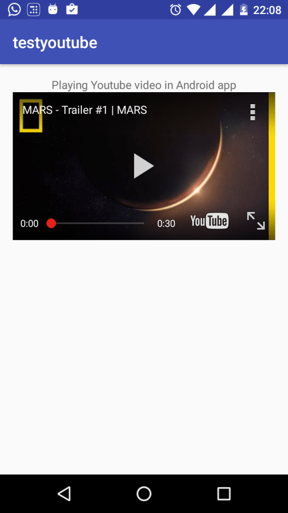 Android Youtube player