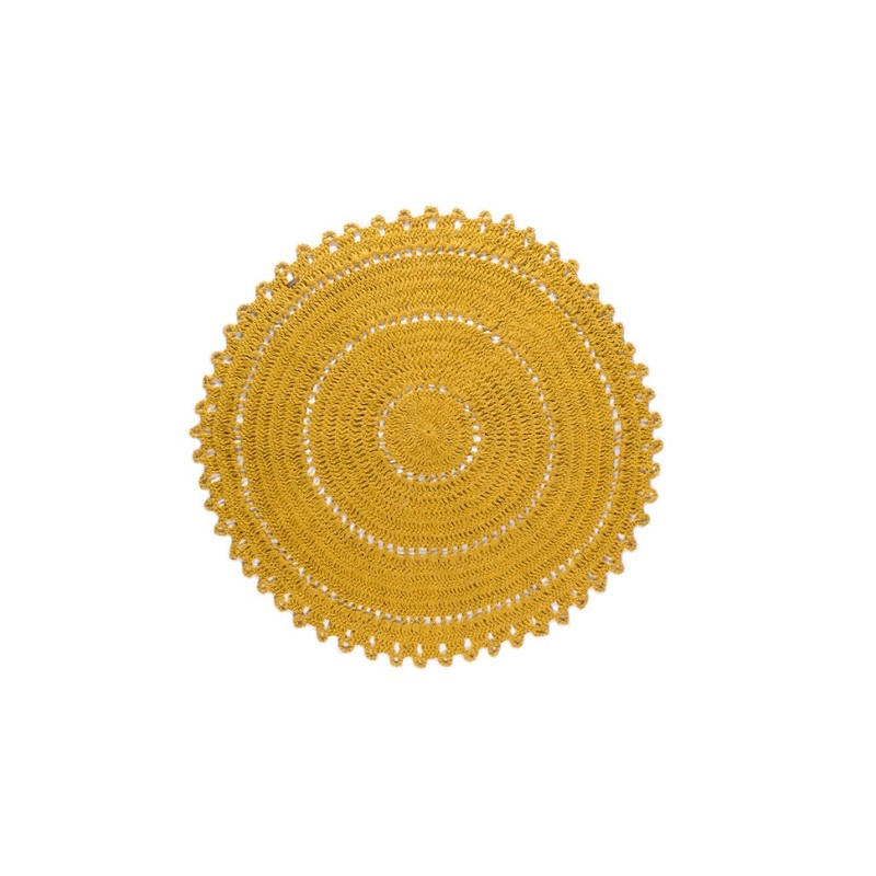 varanassi tapis rond gypsy moutarde