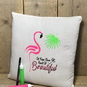 Kussen diy neon giraf of flamingo
