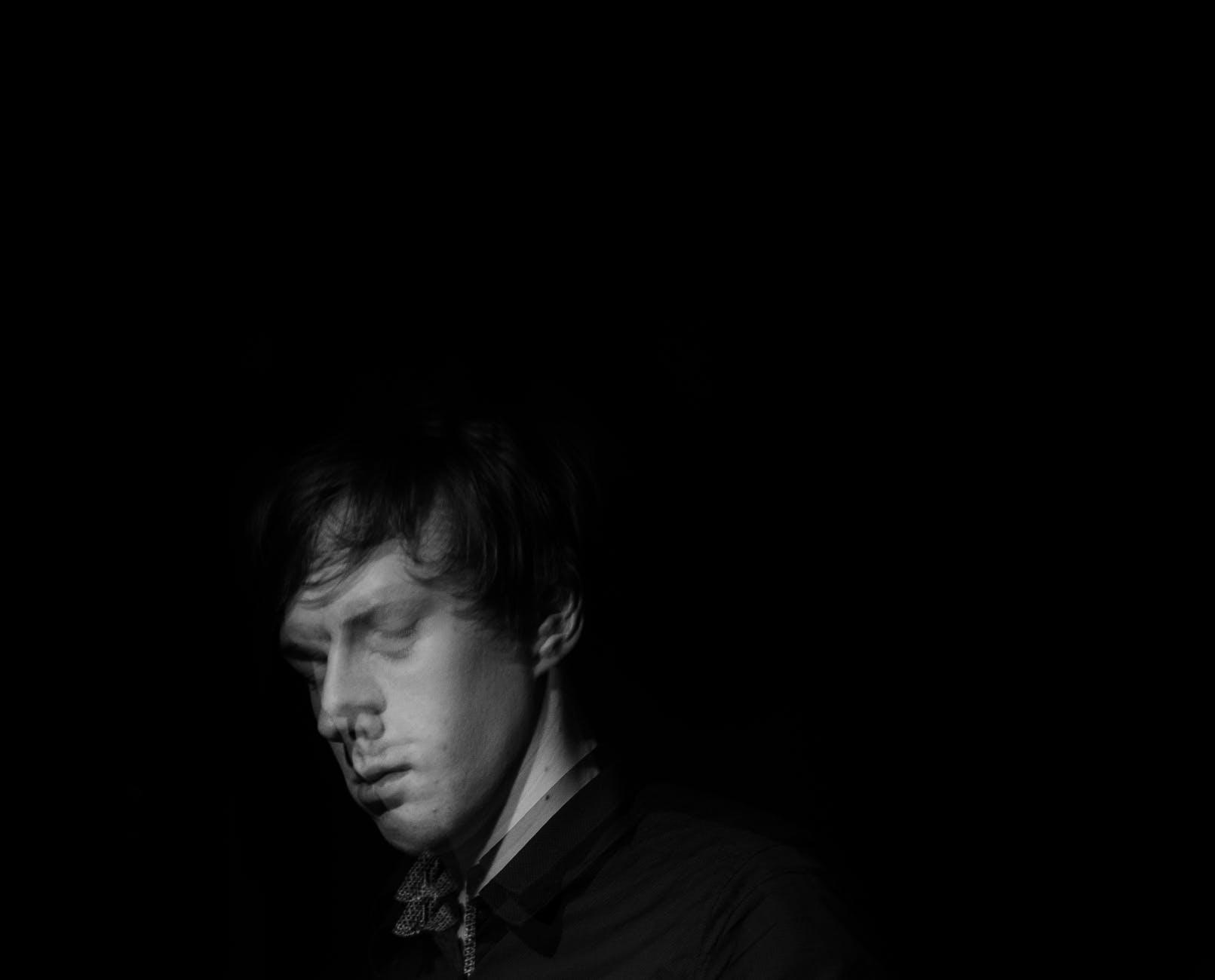 Blurred man in black shirt