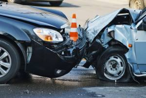 Close up of two cars that have been in an accident