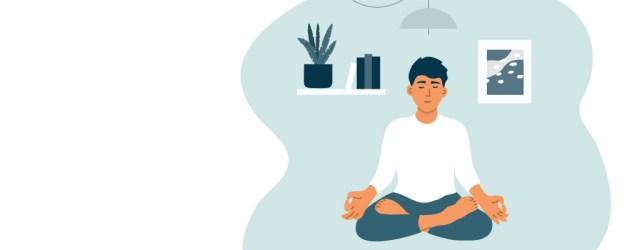 Man sitting on ground meditating