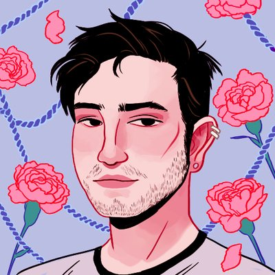 A graphic of Kelvin Sparks, a white-appearing man with black hair and facial scruff, wearing a crew cut shirt. The background is lilac and covered in roses and rope.