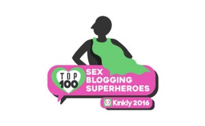 A badge for Kinkly's 2016 Top 100 Sex Blogging Superheroes contest